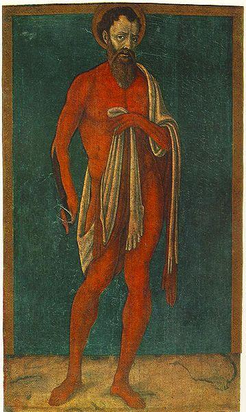 Апостол Варфоломей с содранной кожей. Маттео ди Джованни, 1480