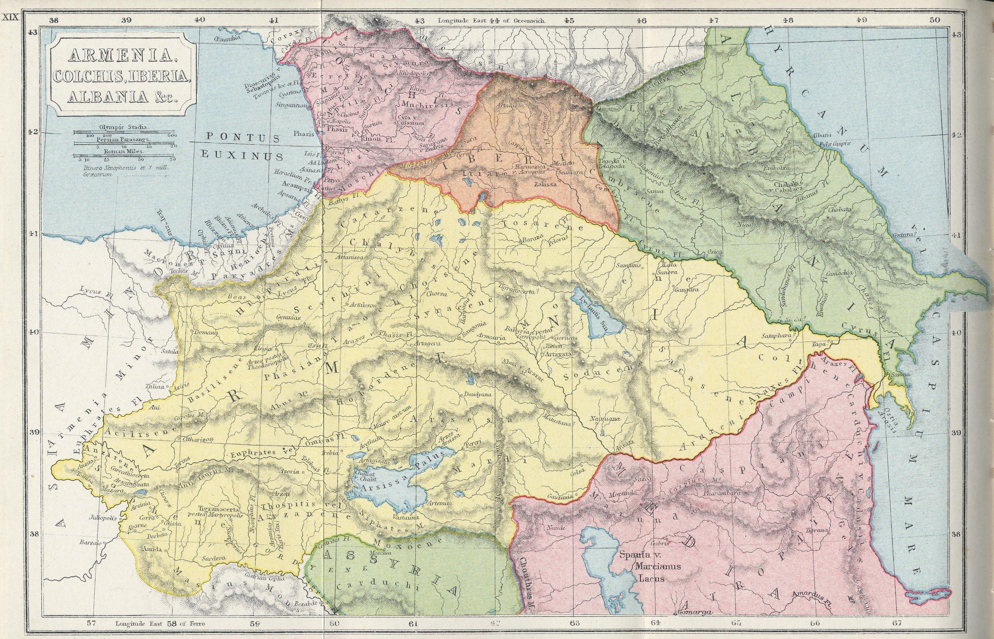 Карта Армения, Колхида, Иберия, Албания из Атласа античной и классической географии С. Батлера (1907 г.)